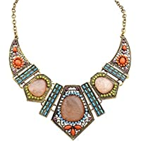 Napoo Clearance Women Vintage Boho Flower Crystal Hollow Geometry Colorful Necklace Earrings Set