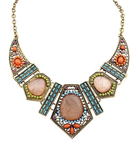 Napoo Clearance Women Vintage Boho Flower Crystal Hollow Geometry Colorful Necklace Earrings Set (Ring Flowers Garnet)