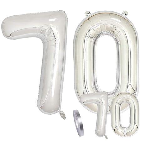 Globos Número 70 Cumpleaños XXL de Plata-Figuras Helio Globo ...