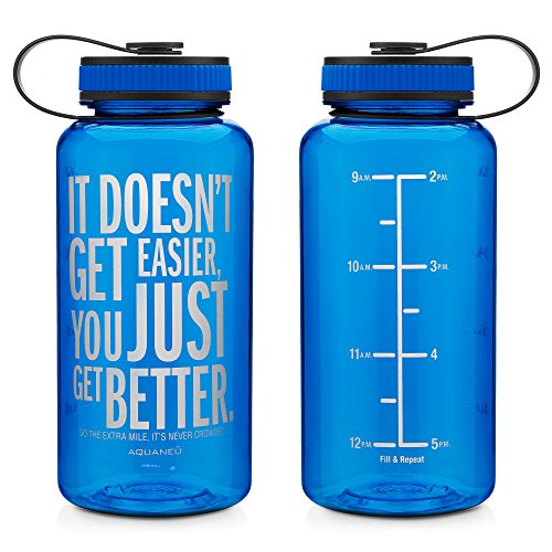 34oz Inspirational Fitness Workout Sports Water Bottle with Time Marker | Measurements | Goal Marked Times For Measuring Your H2O Intake, BPA Free Non-toxic Tritan 34oz (Better Blue)