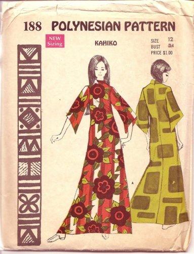 Polynesian Pattern 188 Kahiko Dress, Maxi Dress with 3/4 Length Sleeves, Hawaiian, Vintage 1970s