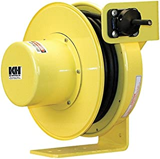 product image for KH Industries RTF Series ReelTuff Industrial Grade Retractable Power Cord Reel, 14/4 SOOW Cable, 12 Amp, 30' Length, Yellow Powder Coat Finish