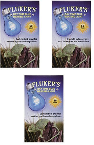 Image of (3 Pack) Fluker Labs Reptile Incandescent Daylight Bulb for Pet Habitat, 60-watt, Blue