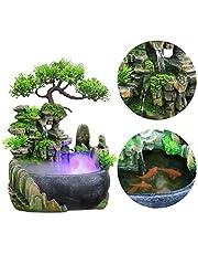 DEWIN Fuente de Mesa - Cascada de Fuente con Cambio de Color Iluminación Led Cascada de meditación Zen