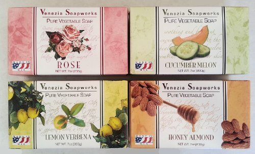 Venezia Soapworks Pure Vegetable Bath Soap Combo (4 Pack).. - Bar Soapworks Scented Soap