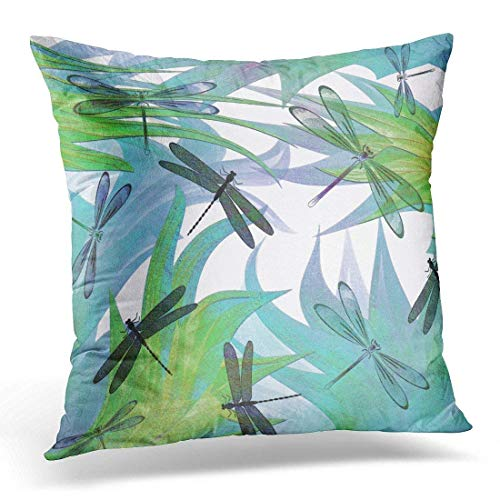 (Hwensona Throw Pillow Cover Blue Dragonflies Colorful Abstract Decorator Green Lavender Decorative Pillow Case Home Decor Square 18 X 18 inches Pillowcase)