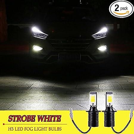 2X H3-3014-57SMD Super Bright Car LED Driving Fog DRL Head Lamp White Light Bulb