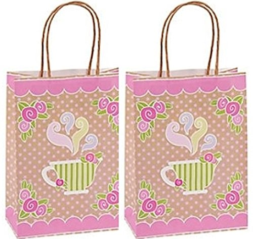 12 pack - Tea Party Kraft Paper Gift Bags (Tea Theme)
