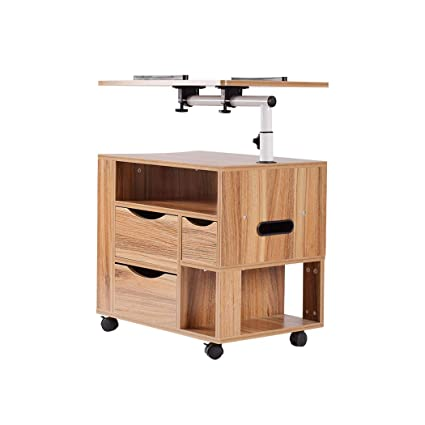 Attirant Laptop Desk, Multifunctional Modern Rolling Wood Nightstands Bedside  Computer Table With Drawers, Height Adjustable