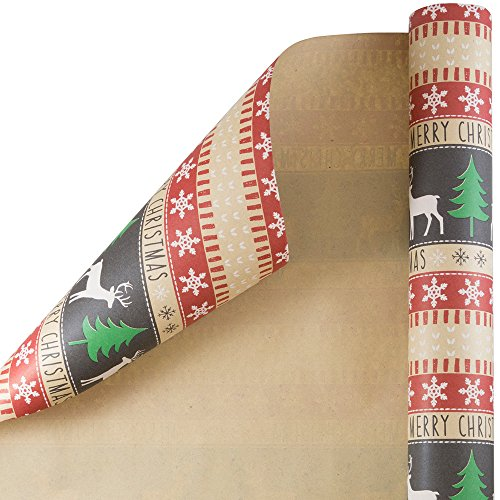 JAM PAPER Gift Wrap - Christmas Wrapping Paper - 25 Sq Ft - Merry Christmas Kraft Paper - Roll Sold Individually