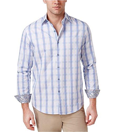 Tasso Elba Mens Plaid Paisley Button Up Shirt bluecombo S from Tasso Elba