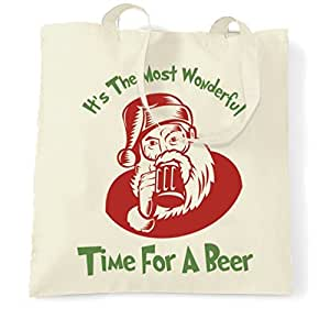 Tote Shopping Bag Gift Funny Christmas It's The Most Wonderful Time For A Beer Alcohol Drink Pint Ale Lager Drunk Xmas Yule Santa Claus Father Christmas Cool Printed Shopping Handbag Gift for Women