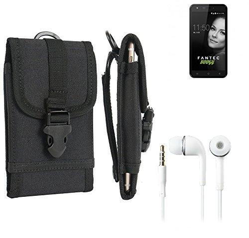 bolsa del cinturón / funda para FANTEC Boogy, negro + Auriculares | caja del teléfono cubierta protectora bolso - K-S-Trade (TM)