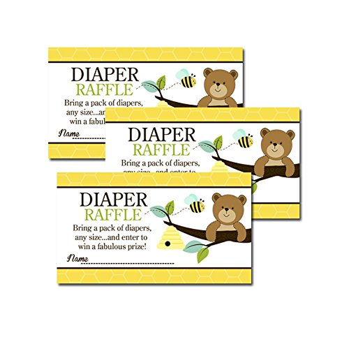 Brown Bear and Honey Bee Printed Baby Shower Diaper Raffle Tickets (20) (Bears Tickets)