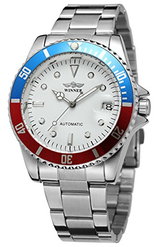 Luxury Casual Men Stainless Steel Calendar Analog Student Automatic Mechanical Business Sport Wrist Watch (Silver Blue Red ()