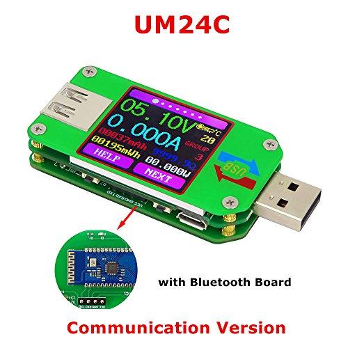 Power Meter, KKmoon USB Digital Power Meter Tester Multimeter Current and Voltage Monitor Color LCD Display Tester Voltage Current Meter Voltmeter Ammeter UM24C Communication Version
