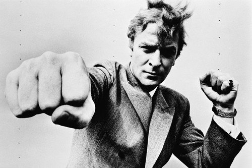Michael Caine Punching At Camera 60's 24x36 Poster Silverscreen