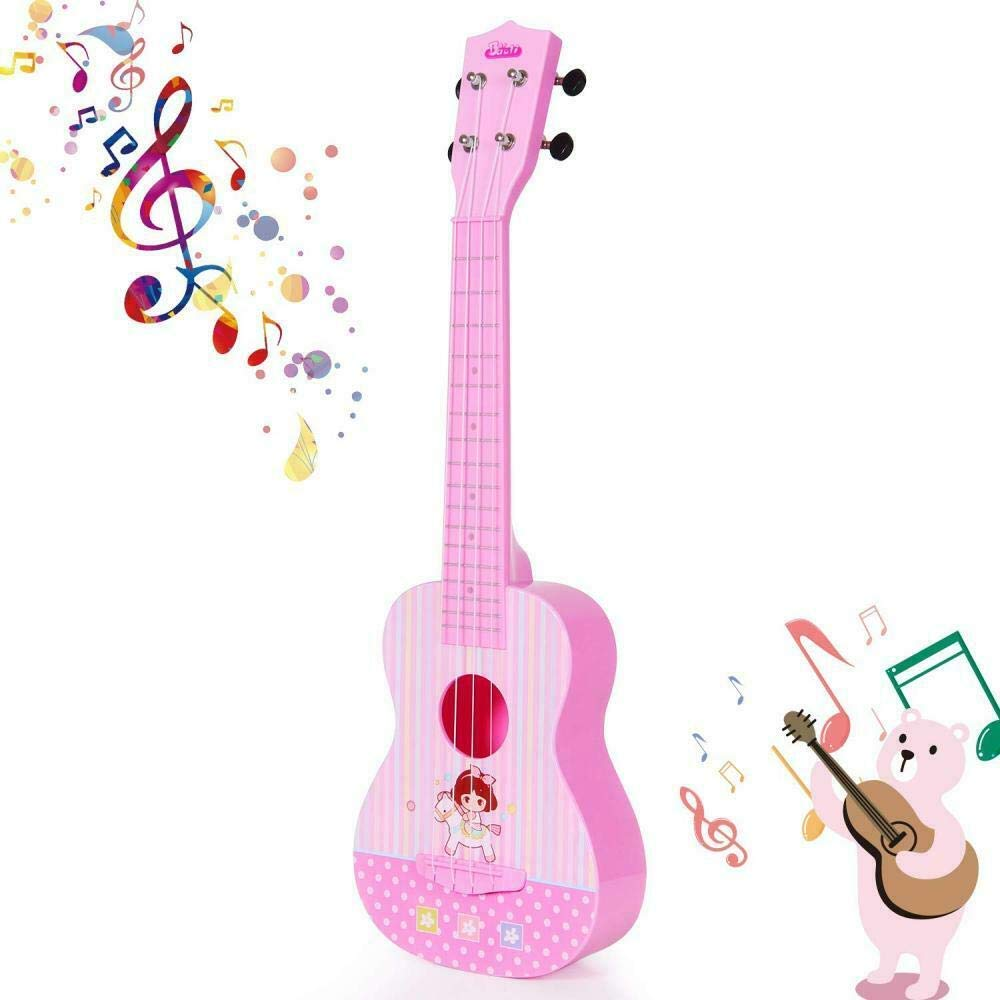 HANMUN Unicorn Musical Ukulele Guitar Toys - 2019 Pink Guitar with 4 Strings Musical Instruments Learning Educational Toys for Kids Children Adult Children (Pink) ¡