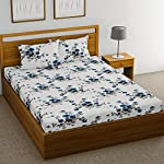 HUESLAND by Ahmedabad Cotton Comfort 160 TC Cotton Double Bedsheet with 2 Pillow Covers – White and Blue