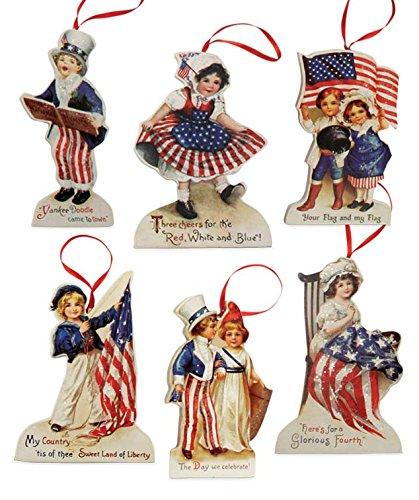 Bethany Lowe Americana Die Cut Patriotic Ornament Set of 6 -