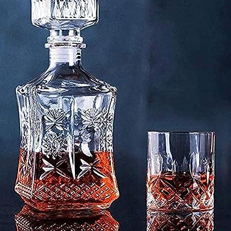 KEKEYANG Decantador Decantador de Whisky Decantador de vinos Whisky Vino Vino Conjunto, Botella de Vino de Girasol Cuadrada + 6 Gafas de Whisky Decantador de Whisky