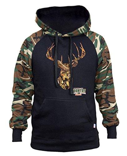Men's Mossy Oak Camo Deer Head Black/Camo Raglan Baseball Hoodie Small Black