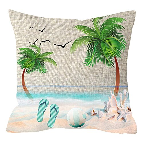 (NIDITW Holiday Gift Tropical Plants Leaves Palm Trees Beach Ball Flip Flop Body Cotton Linen Cushion Cover Pillow Case Cover Home Chair Couch Outdoor Decor Square 18 inches)