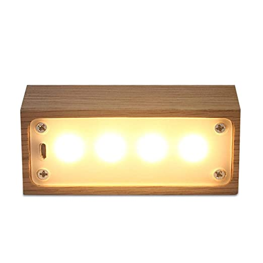 Ooouse Lámpara de mesa de noche, creativa luz de noche de madera ...