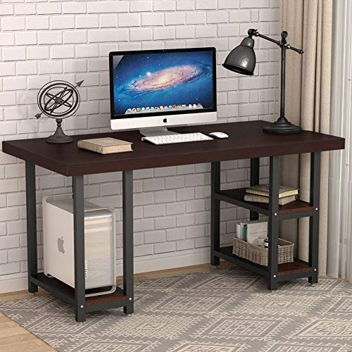 Tribesigns Rustic Solid Wood Computer Desk with Storage Shelves, 55 inch Large Office Desk Workstation PC Laptop Study Writing Table with 27.5 inch Wide Desktop for Home Office