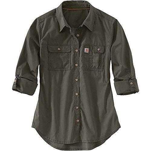 堀あらゆる種類の血統カーハート トップス シャツ Carhartt Women's Force Ridgefield Shirt Olive 273 [並行輸入品]