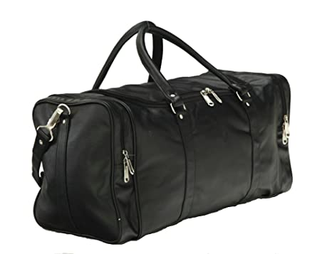 Mboss Leather 53.34 cms Black Travel Duffle (TB 002 BLACK SINGLE)   Amazon.in  Bags 7c8863666c834