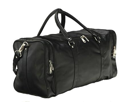 725b57bac0 Mboss Leather 53.34 cms Black Travel Duffle (TB 002 Black Single)   Amazon.in  Bags