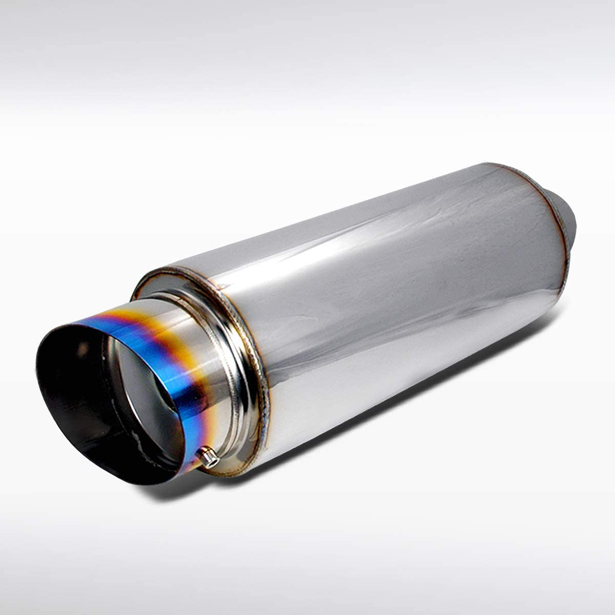 """FREE FLOW 2.5/""""IN//4/"""" OUT N1 TITANIUM BURNT TIP MUFFLER EXHAUST+REMOVABLE SILENCER"""