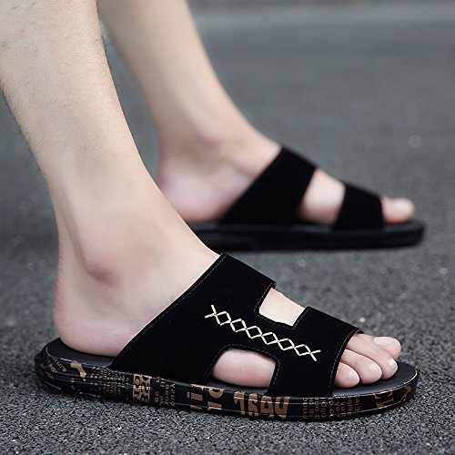 antideslizante de y fondo la nbsp;Zapatillas marea frío 43 campo el oro verano el blando sandalias personalidad de de en A moda de masculino verano en playa en marea de negro y Fankou vwq8dpp