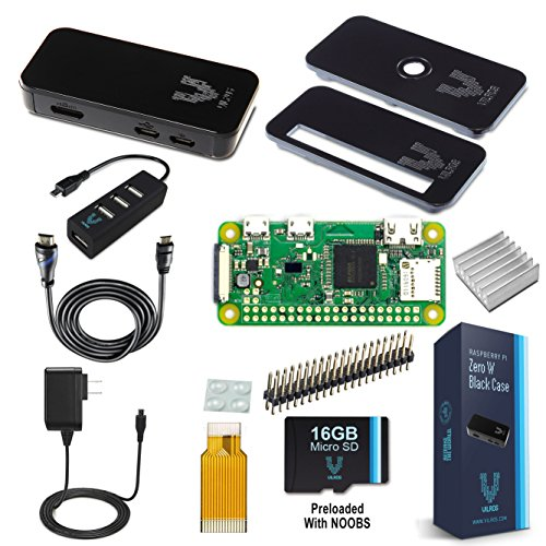 Raspberry Pi Zero W Complete Starter Kit--Premium Black Case Edition--Includes Pi Zero W and 7 Essential Accessories