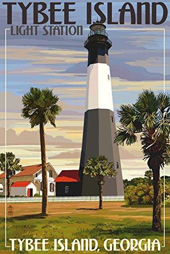 Tybee Island Light Station, Georgia (9x12 Art Print, Wall Decor Travel Poster)