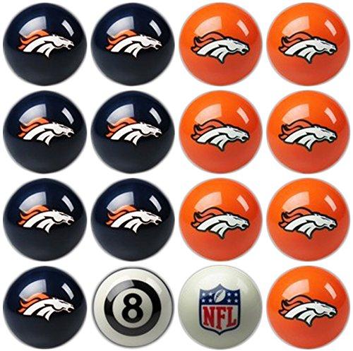 Imperial Officially Licensed NFL Merchandise: Home vs. Away Billiard/Pool Balls, Complete 16 Ball Set, Denver Broncos