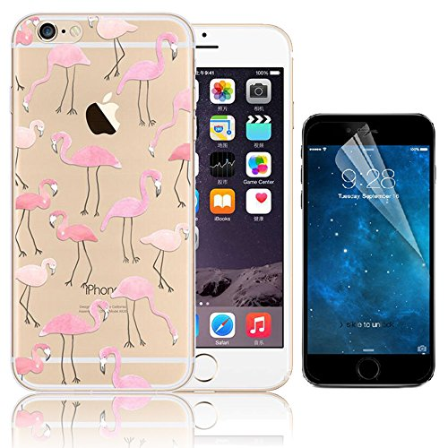 Funda iPhone 5S, Funda iPhone 5 SE, Bonice Premium Creativa Patrón Ultra Delgado Soft TPU Transparente [Crystal Clear] + Protector de Pantalla HD - Flamenco Design 05
