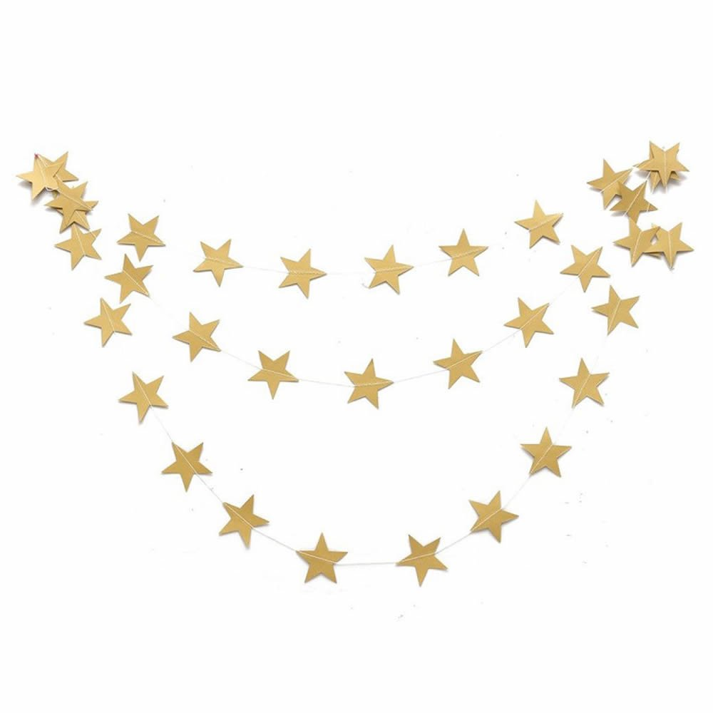 GOOTRADES 4m Star Shaped String Paper Garland Hanging Decoration for Christmas Party (Gold)
