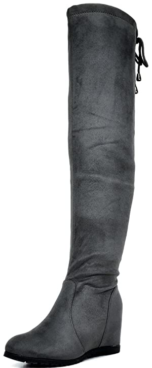 DREAM PAIRS LEGGY Women's Stretchy Faux Suede Fashion Multi-Wear Over The Knee Low Hidden Wedge Heel Thigh High Boots Grey Size 6