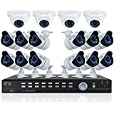 CANAVIS 32 Channel Video Security System with 12 hi-resolution 900 TVL Bullet Cameras, 4 900 TVL Dome Cameras and 2TB preinstalled HDD