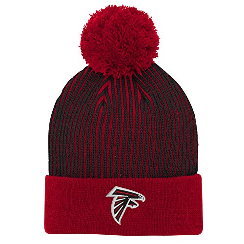 Outerstuff NFL Atlanta Falcons Youth Boys Hidden Rib Cuffed Knit Hat with Pom Crimson, Youth One Size