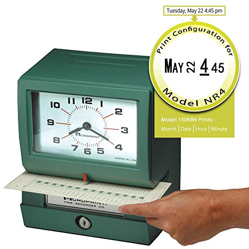 - ACROPRINT 150NR4 Time Clock, Auto Electric - Month, Date, Hours, Minutes