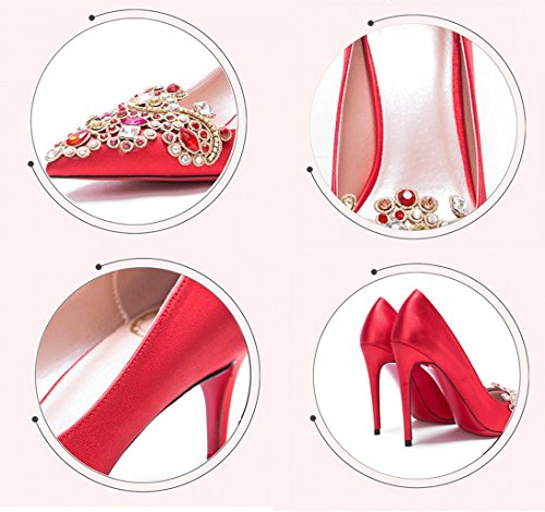 Fine Style With Shallow 34 High Red Shoes Color Shoes Wedding Dream Chinese Pointed New Red Heels Size Silk Satin Bridal 6cm x0B7pn58q