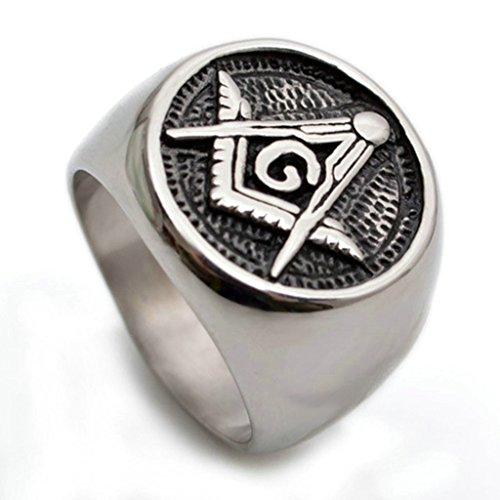 KnSam Men Stainless Steel Band Rings Freemason Masonic Comfort Fit Black Silver Size 8