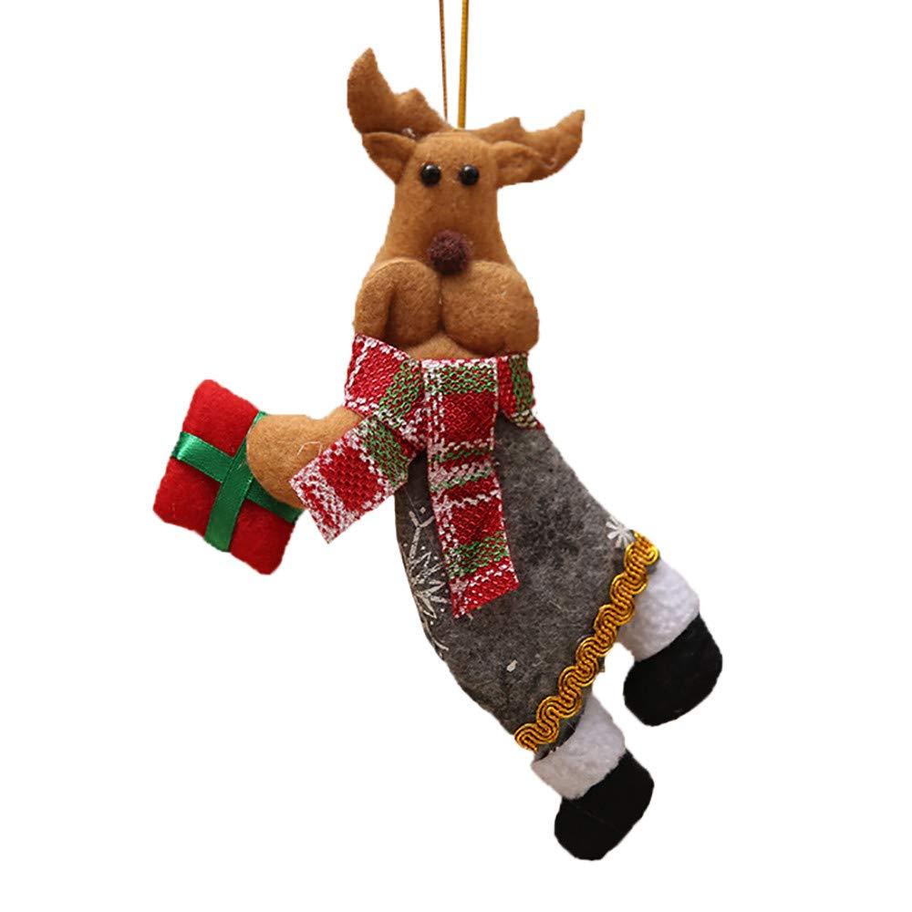 Misaky Christmas Ornaments Gift Santa Claus Snowman Tree Toy Doll Hang Decorations(Multicolour, C)