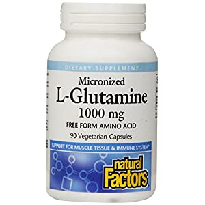 Natural Factors Micronized L Glutamine Free Form Amino Acid 1000mg Support for Muscle Tissue & Immune System
