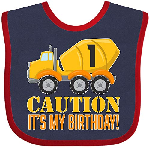 Inktastic - 1st birthday construction truck, cement Baby Bib Navy and Red - 1st Birthday Outfit Construction