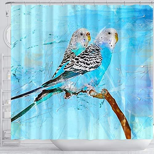 Blue Budgie Parrot (Common Parakeet) Print Shower Curtains by Pawzglore (Image #2)