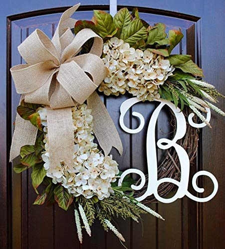 Hydrangea Monogram Initial Wreath with Choice of Bow and Cream Hydrangeas on Grapevine Base-Farmhouse Style Made in America ()